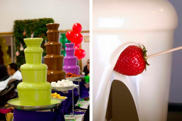 Fuente de Chocolate de Diferentes Colores para Matrimonio