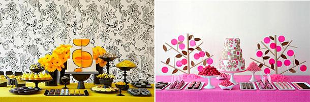 Decoración con flores para la mesa de postres de tu casamiento