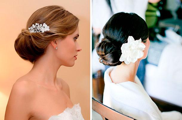 Ideas de peinados para tu boda. Rollo con accesorios