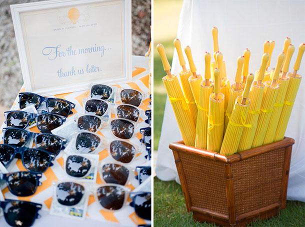 Recordatorio para tu boda campestre, gafas de sol y sombrillas