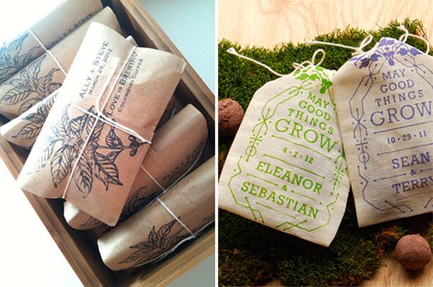 Recordatorios para tu boda campestre, semillas y bolsas de café