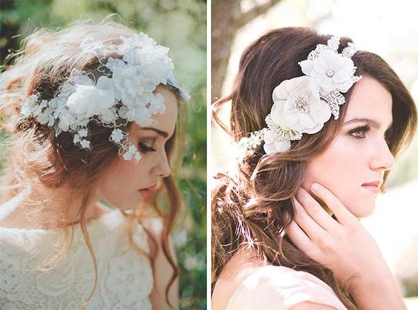 Tocado de novia con flores en tela para tu boda