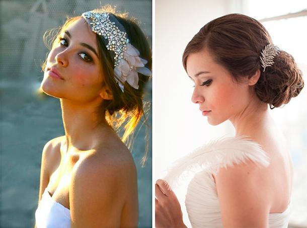 Tocado con apliques en pedrería y perlas para tu boda