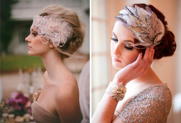 Tocado para tu boda estilo ballet con plumas y pedrería