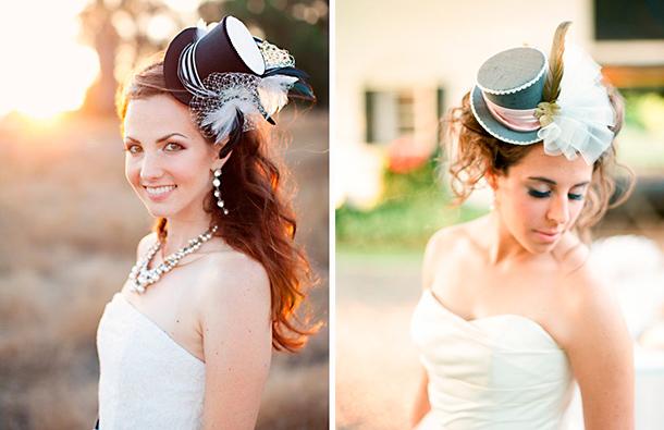 Tocados de novia, sombrero pequeño para tu boda