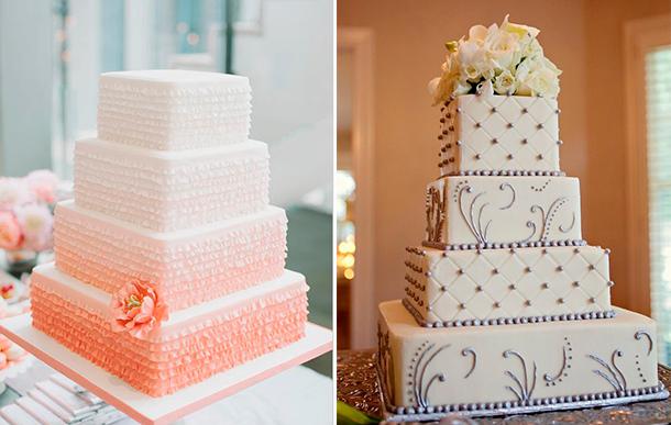 Torta de casamiento con forma cuadrada para tu boda